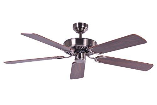 Ventilatore a soffitto senza illuminazione Potkuri, argento invecchiato, pale noce, 132 cm