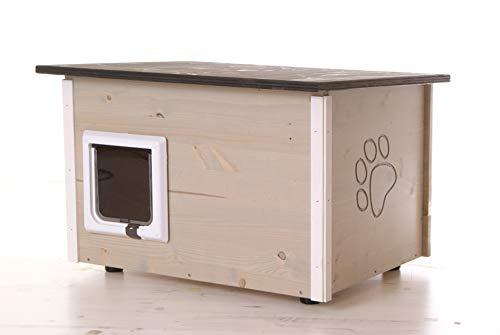 running rabbit gmbh Katzenhaus - Katzenhütte, grau, wärmegedämmt mit Heizung und Katzenklappe
