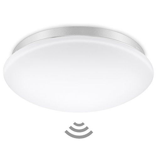 Elrigs LED Deckenlampe mit Bewegungsmelder, Reichweite, Zeit- und Dämmerungsschwelle einstellbar, Warmweiß (3000K) Deckenleuchte, Wandleuchte, 12W (ersetzt 100W), 1020 lm, 360° Sensorleuchte