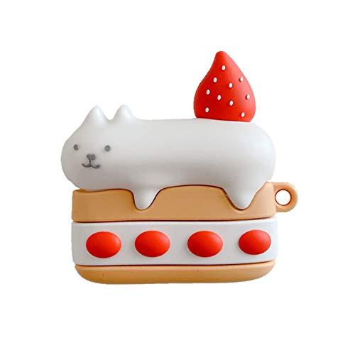 SGVAHY Funda creativa para AirPods Pro, diseño de gato de silicona suave con llavero Kawaii Fun Cool Skin a prueba de golpes funda de carga protectora para AirPods (Cat Cake, AirPods Pro)