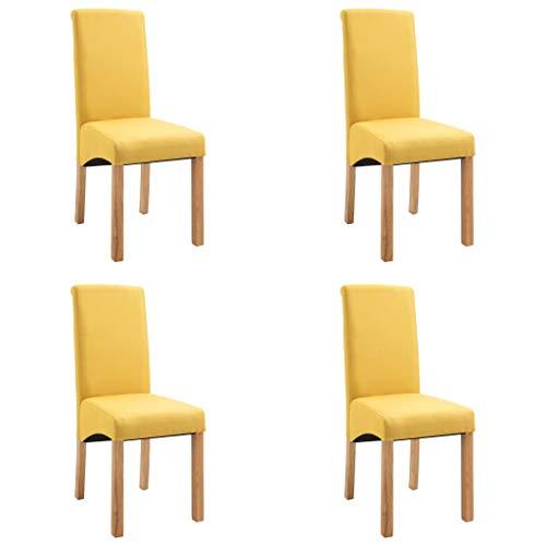 vidaXL 4X Esszimmerstuhl Esszimmerstühle Sitzgruppe Hochlehner Stuhl Stühle Küchenstuhl Polsterstuhl Lehnstuhl Essstuhl Stuhlgruppe Gelb Stoff