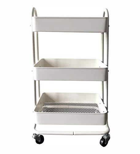 MaxWorks 50175 3-Tier Metal Rolling Utility Cart Heavy Duty Storage with Wheels