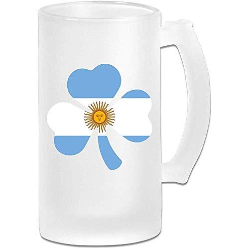 NHJYU Boccale di Birra Argentina Flag Shamrock Frosted Glass Stein Beer Mug - Personalized Custom Pub Mug- Gift for Your Favorite Beer Drinker