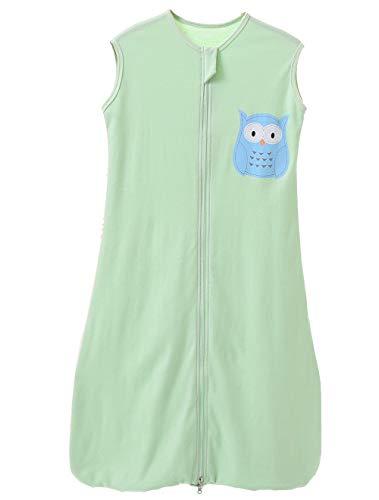 schlabigu schlafsack baby sommer mädchen junge Frühling schlafanzug baumwolle dünner neugeboren, 90CM (6-18 Monate), Eule Grün