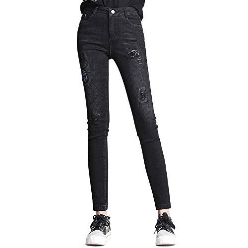 JYKING Jeans Damen Straight Jeans Denim Hose Röhrenjeans Aus Stretch-Material Skinny Schwarz XXXXL
