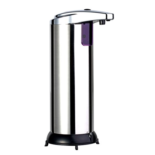Roestvrijstalen Automatische Vloeibare Zeep Wasfles Smart Infrarood Bewegingssensor Touchless Sanitizer Dispenser voor Keuken Badkamer (Sliver)