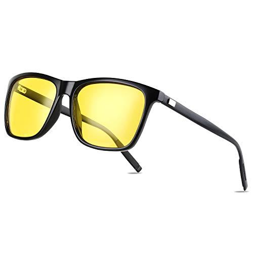 Gimdumasa gafas de sol amarillas vision nocturnas polarizadas conduccion profesionales conducir mujer hombre para conducir de noche GI788 (Montura negra con lente amarilla)