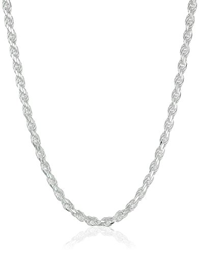 Amazon Essentials Sterling Silver Diamond Cut Rope Chain Necklace, 20