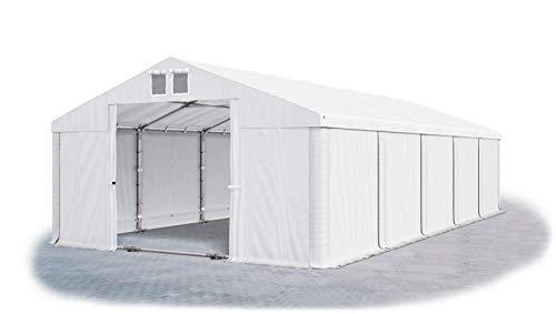 Das Company Lagerzelt 6x10m wasserdicht mit Bodenrahmen und Dachverstärkung weiß Zelt 560g/m² PVC Plane hochwertig Zelthalle Summer Plus SD