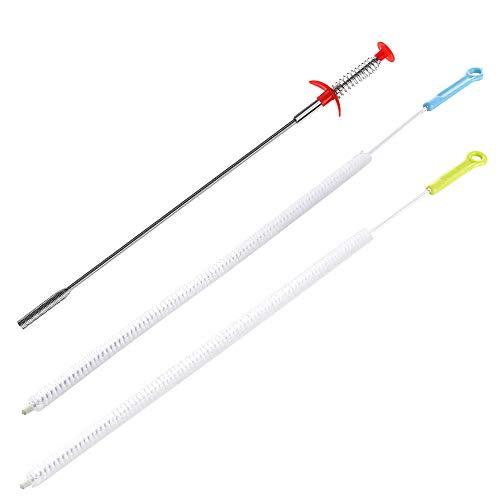 Juego de 2 cepillos de limpieza para desagües de SENHAI, 71 cm, flexibles, con 1 herramienta de drenaje, para eliminar pelos y desatascar baños y cocinas; azul y verde