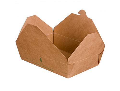 Caja para Take Away, Contenedor comida para llevar -100% Biodegradable y Compostable- Paquete con 50 unidades (2000ml (22x16x6,5cm))
