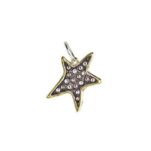 Waxing Poetic Persisting Star Brass, Sterling Silver and Swarovski Crystals Star Pendant