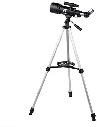 PJPPJH Telescopio astronómico, telescopio Refractor de 400/70 mm Telescopio monocular de Lente HD 150X con trípode y buscador para niños Principiantes