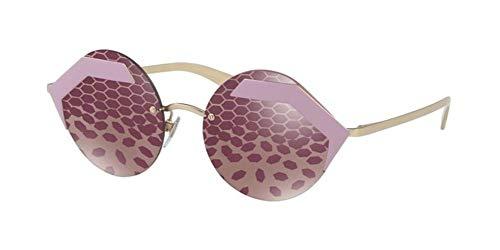 Bulgari Damen 0BV6089 2045H5 55 Sonnenbrille, Pink (Matte Pink/Darkvioletmirrorvioletwave)