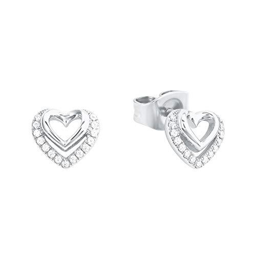 Amor Women's Heart Stud Earrings Shiny Silver 925 Cubic Zirconia White