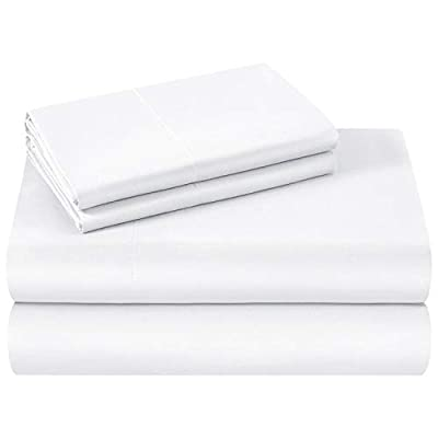 HOMEIDEAS Bed Sheets Set Extra Soft Brushed Microfiber 1800 Bedding Sheets - Deep Pocket, Wrinkle & Fade Free - 4 Piece(Queen,White) by HOMEIDEAS