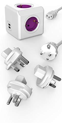 Travel-Cube ReWirable DuoUSB, Power-Würfel für 4 Stecker und 2 USB Ports (2,1 A), Mehrfach-Steckdose mit Schuko-Kabel und 3 Reise-Adapter für UK USA AUS, Magenta-weiß