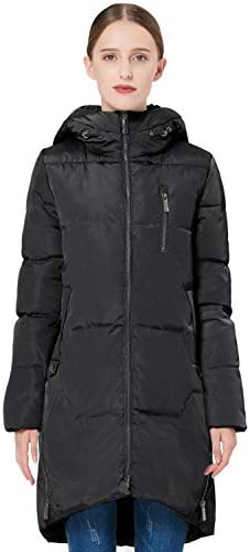 Orolay Women s Stylish Down Jacket Hooded Winter Coat Two way Zipper Puffer Jacket Black L product image