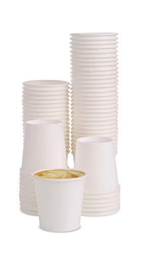 MGGI Trading 100 X 4oz Weiß Kaffeebecher 118ml Coffee-to-Go Papier Tassen Edles Design Pappbecher Papierbecher Für Espresso