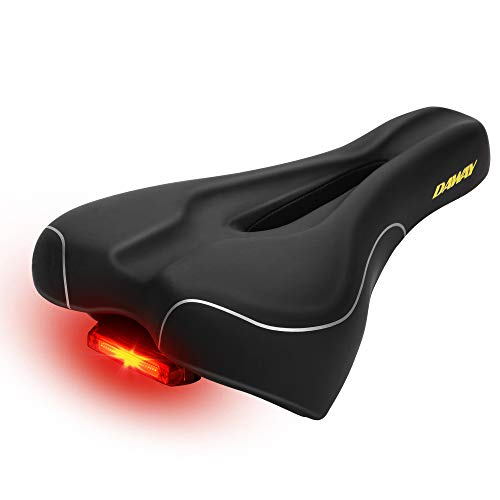 DAWAY Most Comfortable Bike Seat - C600 Men Women Soft Foam Padded Bicycle Saddle with Tail Light, Universal Fit, Improve Comfort for Mountain Road Bikes, Waterproof