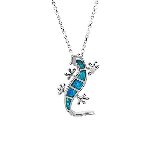 Kiara Jewellery 925 Sterling Silver Blue Lab Opal Lizard/Gecko Pendant Necklace on 18' Sterling Silver Trace Or Curb Chain. Rhodium Plated.