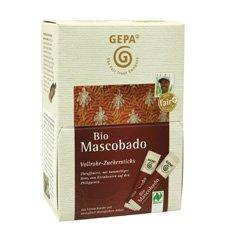 GEPA Bio Mascobado Vollrohr - 1 Karton mit 250 Zuckersticks - 5 Pack/Karton - 50x3g/Pack
