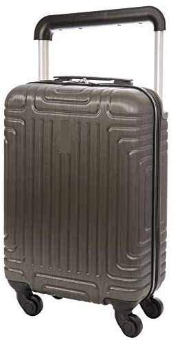 Equipaje maleta de mano 55x35x20 ligero y rígido, asa retráctil con mecanismo de botón,Gris Foncé-55 cm Bagage Cabine