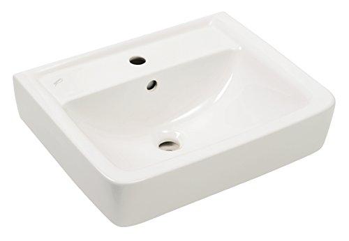 Keramag Waschtisch Renova Plan Handwaschbecken, 222250, eckiges Waschbecken mit Überlauf, 55 x 44 cm, Keramik, Weiß, 03848 5