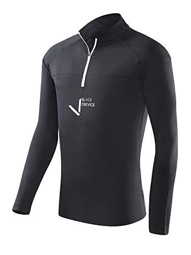 Black Crevice 3XL T-Shirt Fonctionnel à Fermeture Éclair pour Homme Noir