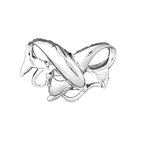 Jewels Obsession 14K White Gold Dolphins Pendant - 20 mm