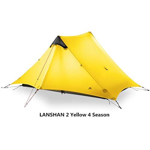 YITEJIA Waterproof outdoor tent 3F UL GEAR LanShan 2 People Oudoor Ultralight Camping Tent 3/4 Season 1 Single 15D Nylon Silicon Coating Rodless Tent (Color : Yellow 2P 4 Season)