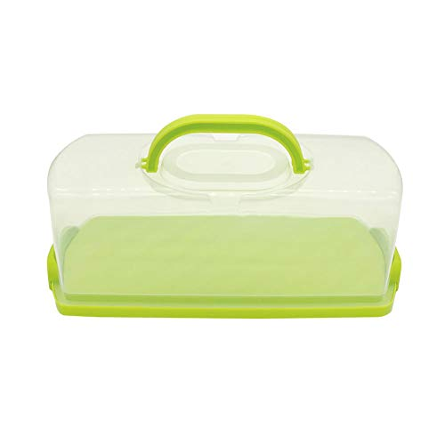FEOOWV Portable Plastic Rectangular Loaf Bread Box with Transparent Lid, Bread Keeper for Carrying and Storing Loaf Cakes,Banana Bread,Pumpkin Bread,Quick Breads (Green)