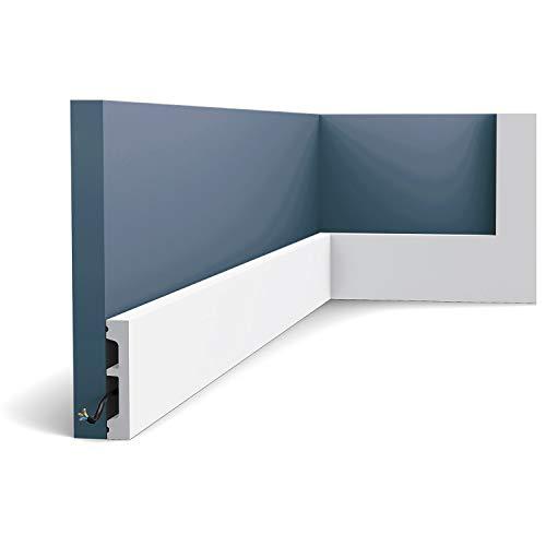 Battiscopa Orac Decor SX157 AXXENT SQUARE zoccolino cornice parete profilo multifunzione design moderno bianco 2 m