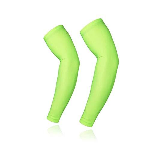 Yaunli - Manguitos de brazo para deporte al aire libre, para correr, UV, para ciclismo, ciclismo, calentadores de brazos transpirables (color: verde, tamaño: L)