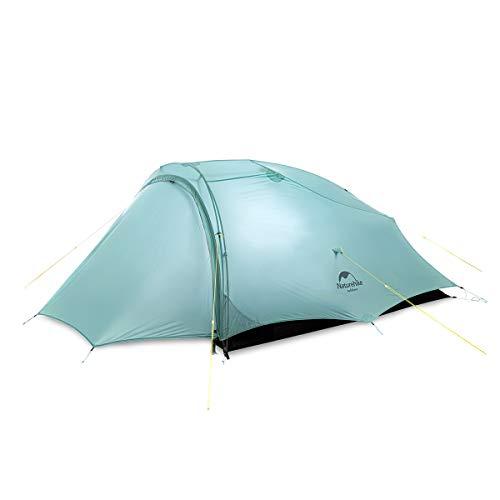 Naturehike Tienda de Campaña Ligera Shared-2 Para 2 Personas Para 3 Estaciones de Nailon 20D Resistente a la Lluvia y al Viento Para Camping Senderismo (verde hollín)
