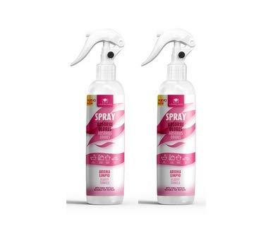CRISTALINAS. Ambientador & Absorbe Olor. Spray Pulverizador. 100% sin Gas. Ideal para Usar en Tejidos, Cocina, Zona de Mascotas, Tabaco o Baño. 250 ml. Aroma A Limpio (Pack 2)