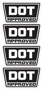 DOT D O T Approved Motorcycle Helmet Sticker Graphic - Made to Last - Premium Quality Vinyl Sticker s Decals Labels/Set of 4