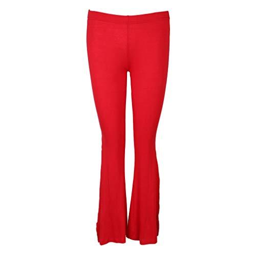 B Baosity Pantalones Cortados de Danza de Vientre India de Seda Vaqueros Casuales para Hogar Casera Rendimiento - Rojo, L