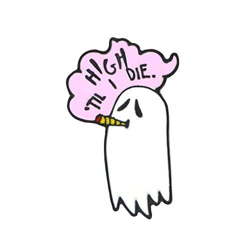 Hoch bis sterben Rauch Geist Emaille Pin Punk Tod Brosche Tasche Kleidung Anstecknadel Halloween Abzeichen Cartoon Schmuck Geschenk für Männer Frauen-High, China