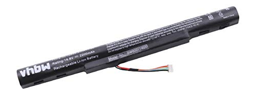 vhbw Battery replacement for Acer AL15A32, AL15A32 (4ICR17/65), KT.00403.025, KT.004B3.025, KT.00403.034 for Laptop (2200mAh, 14.8V, Li-Ion, black)