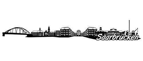 Samunshi® Saarbrücken Skyline Wandtattoo Sticker Aufkleber Wandaufkleber City Gedruckt Saarbrücken 120x18cm schwarz
