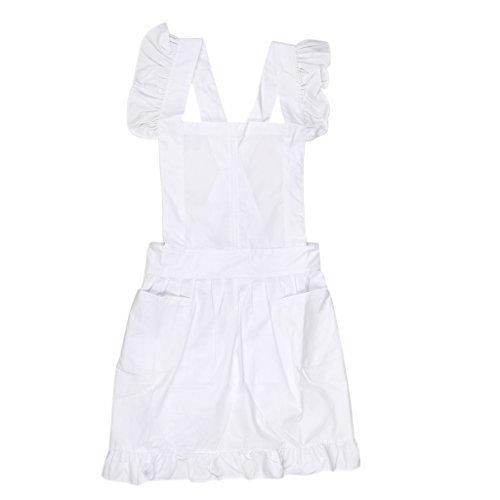 Schürze, Oberteil, mit Spitze und Rüschen, Kostüm, Bluse mit Taschen, viktorianischer Stil, weiß, 95 cm