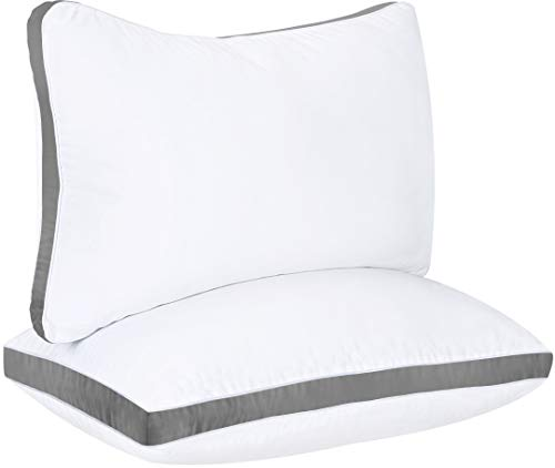 Utopia Bedding Gusseted Pillow (2-Pack) Premium Quality Bed Pillows - Side Back Sleepers - Grey Gusset - King - 18 x 36 Inches