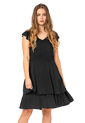 Sublevel Damen Volant-Kleid mit V-Ausschnitt Kurzarm Black S/M