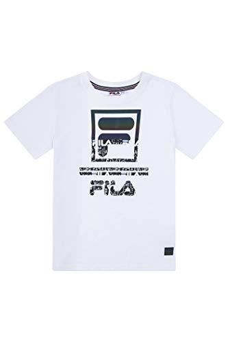 Fila Boys Classic Logo Short Sleeve Tee Shirt Top (Medium, White-Reflective)