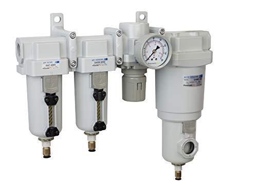 PneumaticPlus SAU470-N04DG-MEP Four Stage Air Drying System - Compressed Air Particulate Filter, Coalescing Filter, Pressure Regulator & Water Separator, 1/2