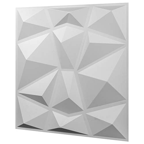 Ukiki 13 Stück Wandpaneele 3D Design Wanddekoration Design Diamant Fliesen Kunststoff Deko quadratisch wasserdicht Kunst langlebig Basteln Silber Winkel Winkel
