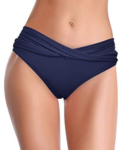 SHEKINI Damen Bikini Hose Raffung Bauchweg Badehose V from Eleganz Strandhose Grosse Grössen XXL für Frauen (Small, Dunkelblau)