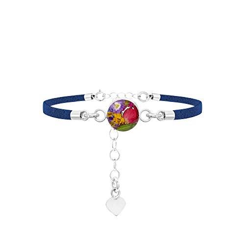Shrieking Violet Funky Bracelet - Navy 'Vegan suede' strap -Sterling silver round with real flowers