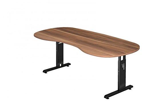 DR-Büro Schreibtisch höhenverstellbar nierenform 200 x 100 cm - Höhe 65-85 cm - Bürotisch mit schwarzem Gestell - 7 Farben, Farbe:Zwetschge